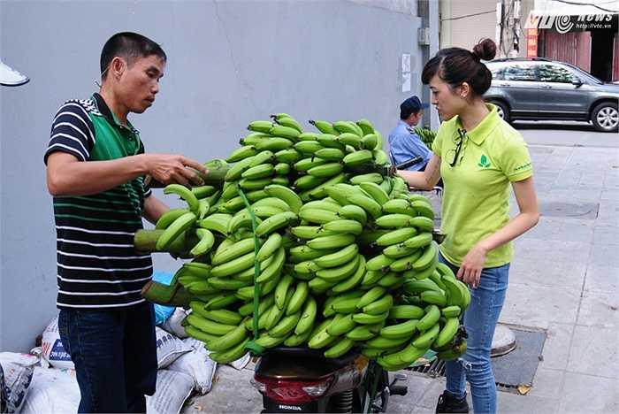 Những buồng chuối bán ở tòa nhà 23 Lạc Trung sáng 18/11 là của nông dân Vĩnh Phúc, những người không tìm được hướng tiêu thụ sau khi chuối mất giá