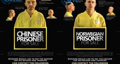Hình ảnh hai con tin người Trung Quốc và Na Uy bị IS bắt cóc và rao bán trước khi bị hành quyết