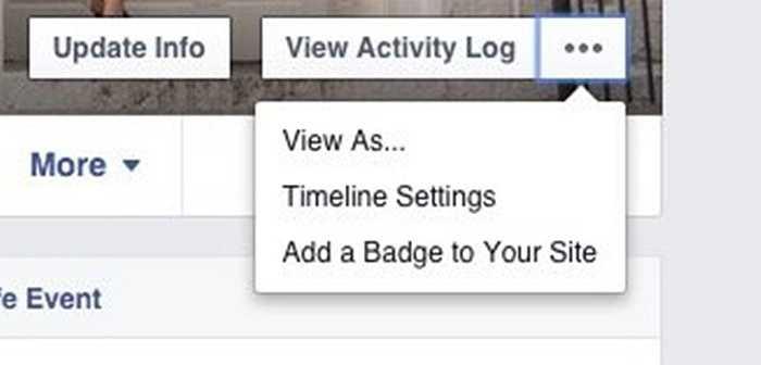 Ở góc trên bên phải, bạn có thể lựa chọn vào biểu tượng 3 dấu chấm > View as để nhìn facebook của mình dưới con mắt của một người lạ xem bạn có chia sẻ những gì khác biệt