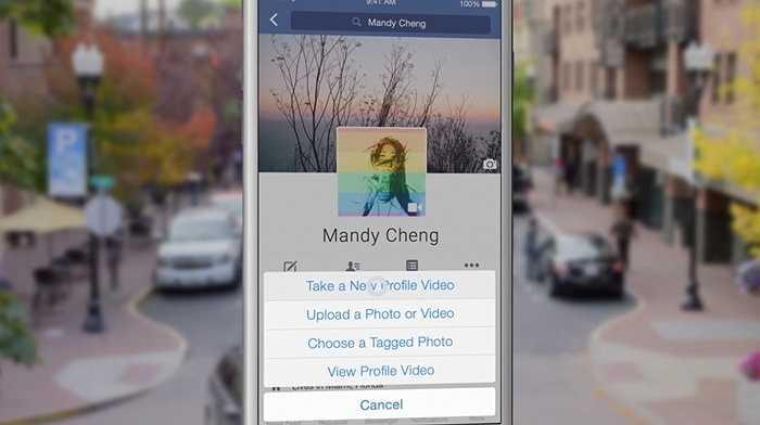Chọn video làm avatar. Ở ứng dụng Facebook cho điện thoại, chạm vào hình ảnh đại diện của bản thân rồi lựa chọn tính năng 'Take a New Profile Video' để làm một đoạn video ngắn giới thiệu về bản thân mình