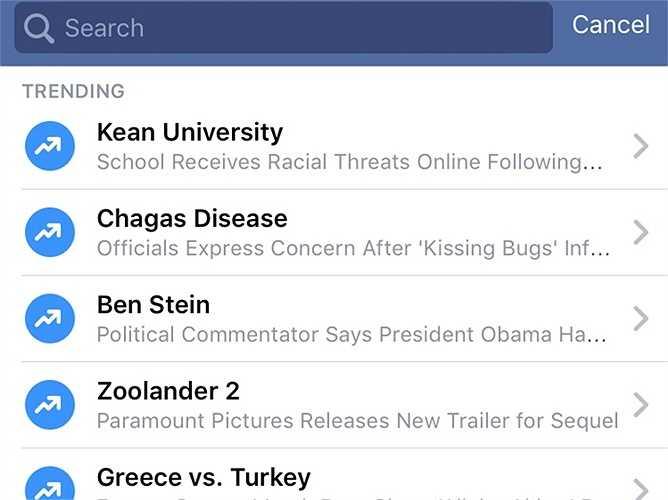 Xem những xu hướng đọc tin trên Facebook. Ở dưới thanh tìm kiếm của Facebook, người dùng có thể tìm thấy những câu chuyện đang được mọi người nói đến nhiều nhất trên Facebook