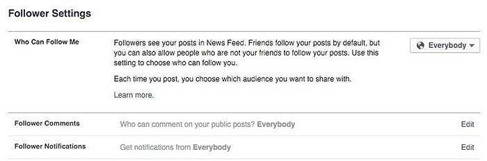 Phân biệt ranh giới giữa 'Bạn bè' và 'Followers'. Có 2 cách để kết nối với người khác trên Facebook, đó là: trở thành bạn bè hoặc người theo dõi (followers). Bạn bè là người nhận được sự đồng ý kết bạn, có thể comment, nhận xét ... còn người theo dõi chỉ có thể nhận được các thông tin cập nhật về người dùng mà thôi