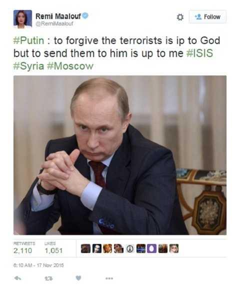 Phóng viên đài truyền hình Nga RT Remi Maalouf chia sẻ trên Twitter câu nói về IS