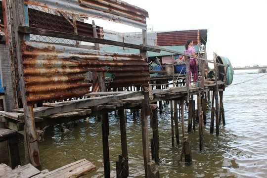 Nguy hiểm nhất là khu nhà chồ nằm ở phần rìa của bờ sông Cái gồm các tổ 4, 5, 6, 7. Những căn nhà chồ này làm theo kiểu nhà sàn, đóng cột gỗ xuống lòng sông, phía trên lát bằng ván ép, cách mặt nước chừng 1,5- 2m. Gió mạnh là nhà có thể sập, bay bất cứ lúc nào