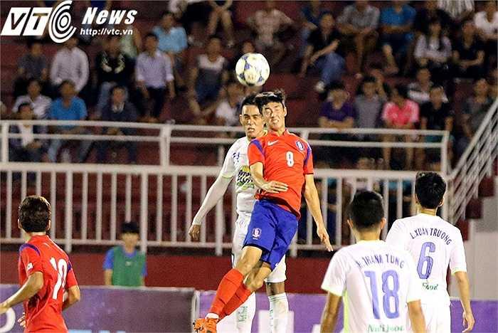 Đá chính trong trận U21 HAGL 0-1 U19 Hàn Quốc, Thắng Toàn đã có màn trình diễn tốt trước đối thủ đẳng cấp châu lục