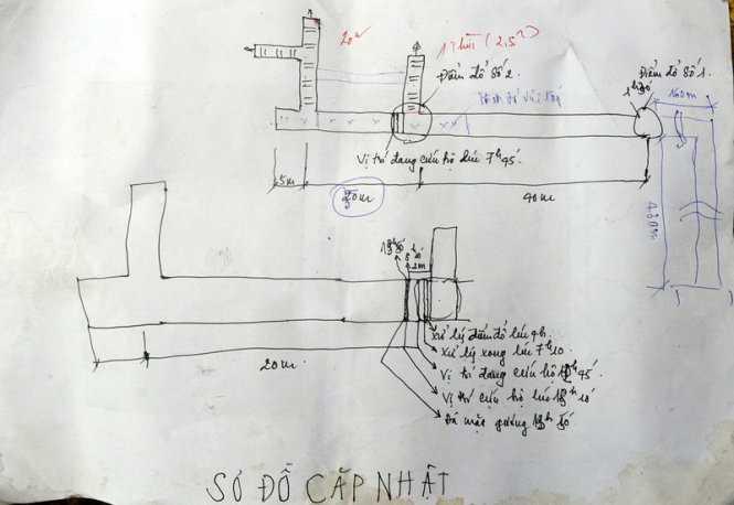 Sơ đồ đường hầm và cập nhật tiến độ tiếp cận vị trí hai công nhân gặp nạn do Trung tâm cấp cứu mỏ - Tập đoàn công nghiệp than và khoáng sản Việt Nam cung cấp