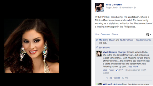 Hoa hậu Hoàn Vũ Philippines Pia Wurtzbach.
