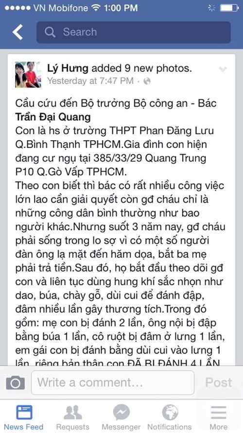 Facebook của Lý Hưng cầu cứu Bộ trưởng Bộ Công An
