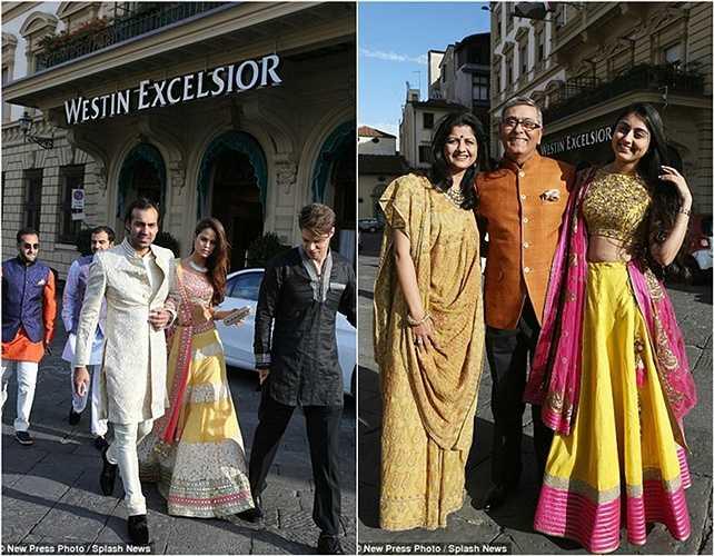 Các vị khách trong trang phục truyền thống sang trọng và sặc sỡ tới dự đám cưới.