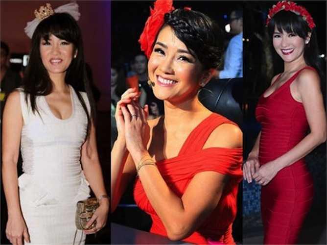 Dù ở bất kỳ đâu, Hồng Nhung cũng diện những trang phục như 'gái còn son'.