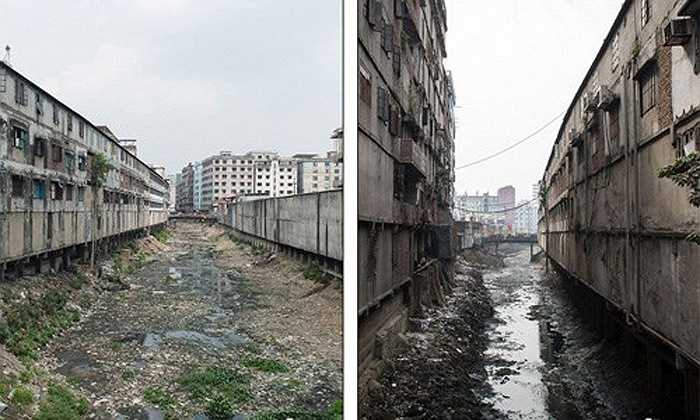Khung cảnh nguồn nước ô nhiễm đằng sau các nhà máy may mặc ở Keraniganj, Dhaka, Bangladesh.
