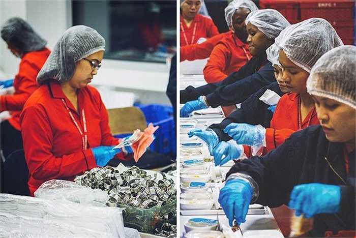 Còn quá trình xếp đồ ăn, dao, dĩa với khoang phổ thông được thực hiện đơn giản hơn. Do số lượng khách hàng lớn nên cần rất nhiều nhân viên cùng thực hiện mới đảm bảo được tiến độ công việc.