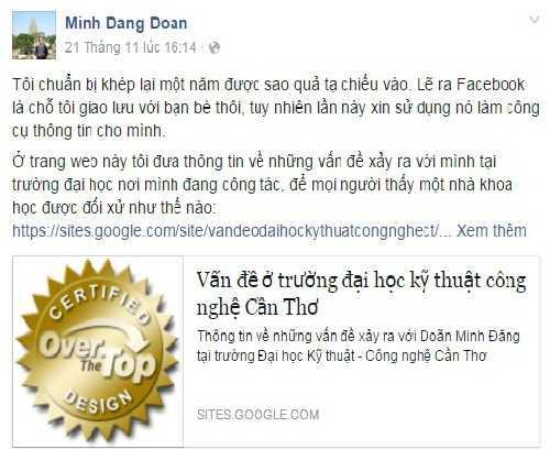 Anh Đăng chia sẻ những bức xúc với nhà trường trên facebook