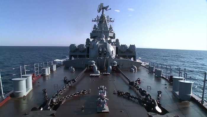 Tuần dương hạm tên lửa Cận vệ Moskva đã tới bờ biển Latakia để phòng thủ đường không cho khu vực