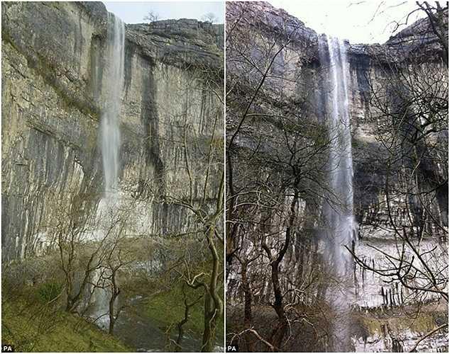 Đây là lần đầu tiên trong vài trăm năm nay có thác nước chảy trên vách đá Malham.