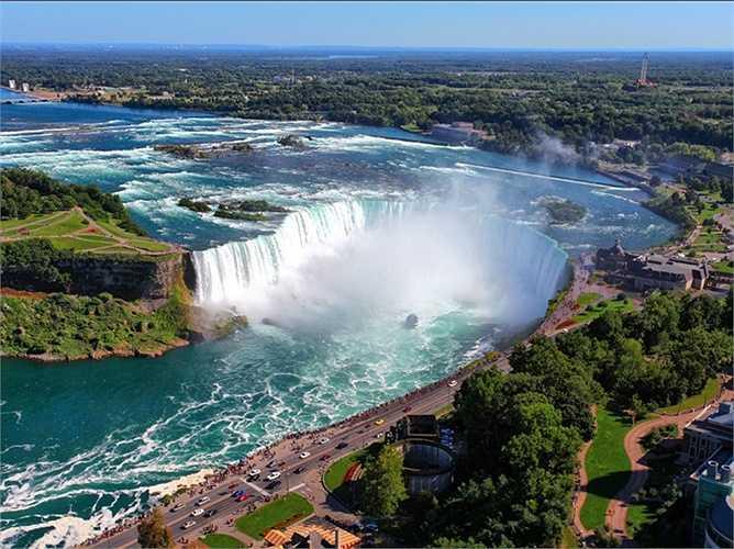 Thác Niagara, New York xả một lượng lớn nước (3,16 tấn) mỗi giây. Không chỉ là điểm du lịch tuyệt đẹp thu hút khách du lịch mà nó còn cung cấp hàng triệu kW điện cho Mỹ và Canada.
