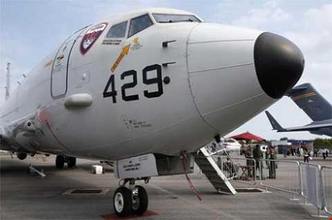 Máy bay trinh sát P8 Poseidon của Mỹ tại Triển lãm hàng không ở Singapore