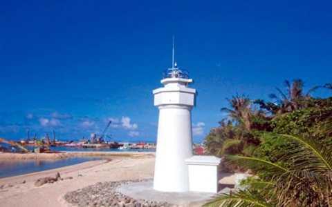 Hình ảnh về ngọn hải đăng trái phép mà Đài Loan xây dựng ở đảo Ba Bình, thuộc quần đảo Trường Sa của Việt Nam