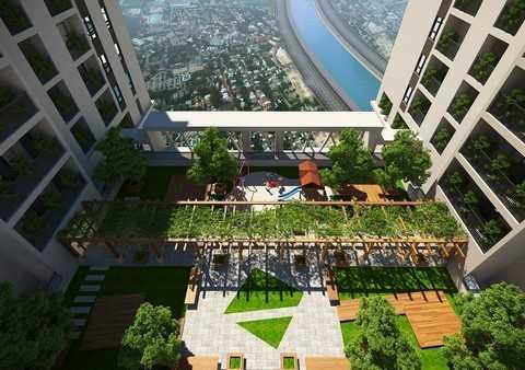 Căn hộ sân vườn trên mái tầng 25, góc thư giãn lý tưởng cho cộng đồng Five Star Garden