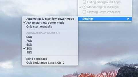 Có thể điều chỉnh cho Endurance chỉ hoạt động khi lượng pin thấp hơn 30%