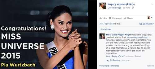 Tổng thống Phillipines chúc mừng Pia giành được vương miện Hoa hậu hoàn vũ 2015 trên trang cá nhân