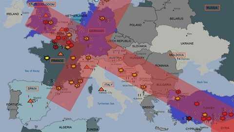 Bản đồ cho thấy IS âm mưu tấn công châu Âu theo hình chữ thập khổng lồ