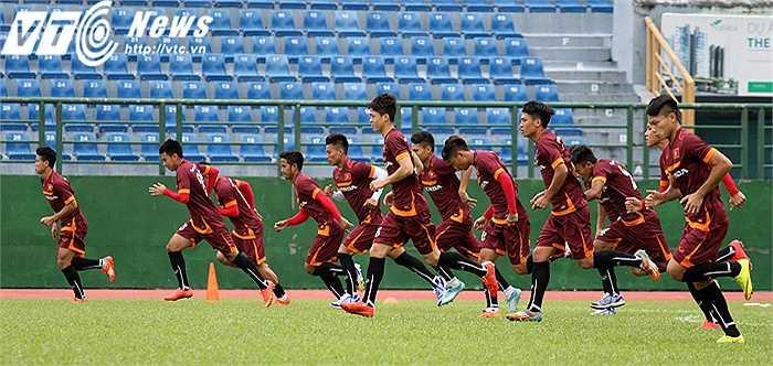 Với nỗi lo chấn thương, BHL U23 Việt Nam cũng giảm tải khối lượng tập cho các cầu thủ