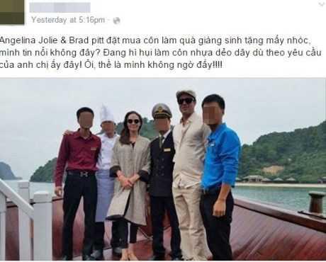 Một số bức ảnh đăng công khai trên Facebook cho thấy Angelina Jolie, Brad Pitt đã dạo chơi trên du thuyền tại vịnh Hạ Long hồi cuối tuần qua