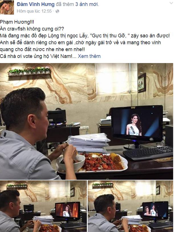Mr Đàm dõi theo từng bước của Phạm Hương tại Hoa hậu hoàn vũ năm nay