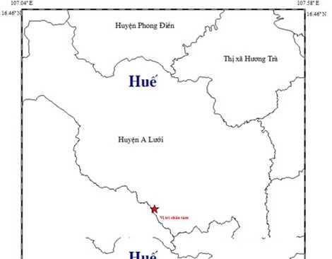 Vị trí xảy ra động đất ngày 22/12 tại A Lưới.