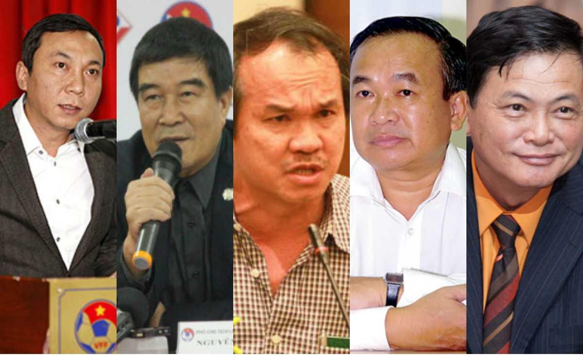Từ trái qua, ông Trần Quốc Tuấn, ông Nguyễn Xuân Gụ, ông Đoàn Nguyên Đức, ông Phạm Văn Tuấn, ông Nguyễn Công Khế. Những ứng cử viên nặng ký cho chức chủ tịch VFF