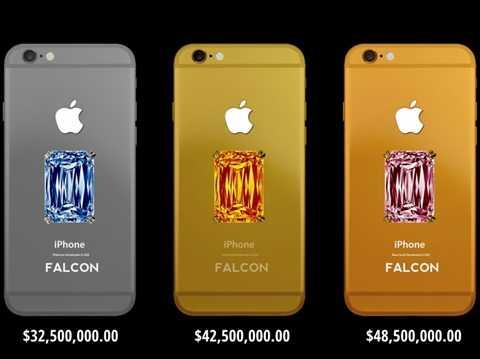 Falcon SuperNova Pink Diamond iPhone 6 - 45,5 triệu USD. Và đây, chiếc điện thoại khủng nhất trong danh sách, Falcon SuperNova Pink Diamond iPhone 6 - đơn giản là mặt sau được gắn những viên kim cương màu rất hiếm và không phải ai cũng có thể tìm kiếm được