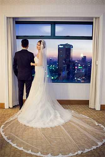 Chất liệu ren xuyên thấu được đính kết cầu kì giúp Diễm Trang rất xinh đẹp trong ngày cưới.