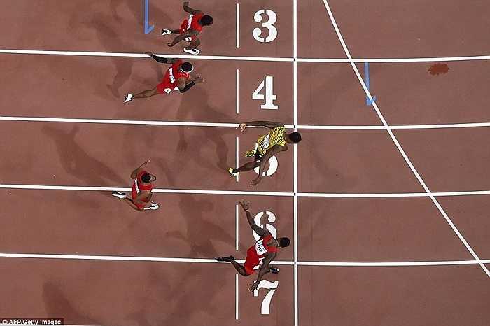 Justin Gatlin và Usain Bolt gần như cán đích đồng thời ở đường chạy 100m tại giải VĐTG Bắc Kinh
