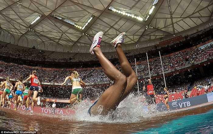 VĐV người Panama Rolanda Bell ngã bổ nhào trên đường chạy 3000m vượt chướng ngại vật ở giải VĐTG diễn ra tại Bắc Kinh hồi tháng 8