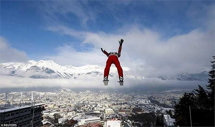 VĐV trượt tuyết Anders Fannemel tập luyện tại Áo hồi tháng 1