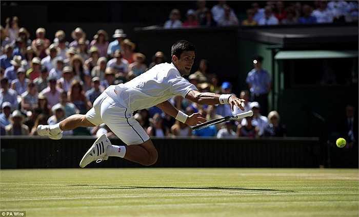 Novak Djokovic bay người cứu bóng tại giải Wimbledon
