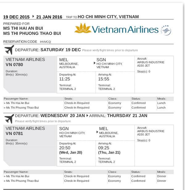 Chị Bùi Thị Hải An có vé máy bay nhưng không có tên trên chuyến bay