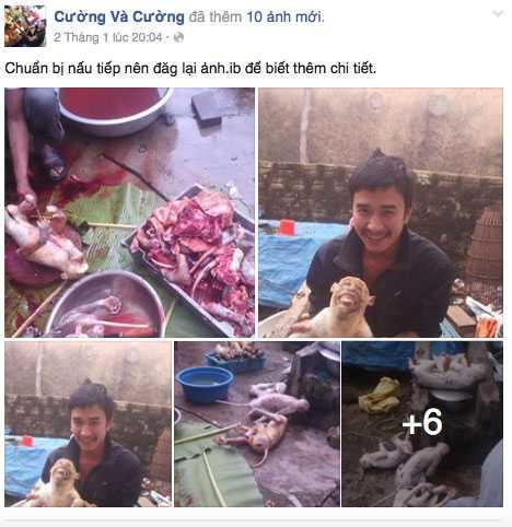 Cường chụp ảnh giết khỉ rồi tung lên facebook (ảnh chụp màn hình)