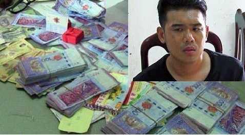 Đối tương Lian và số tiền giả bị phát hiện