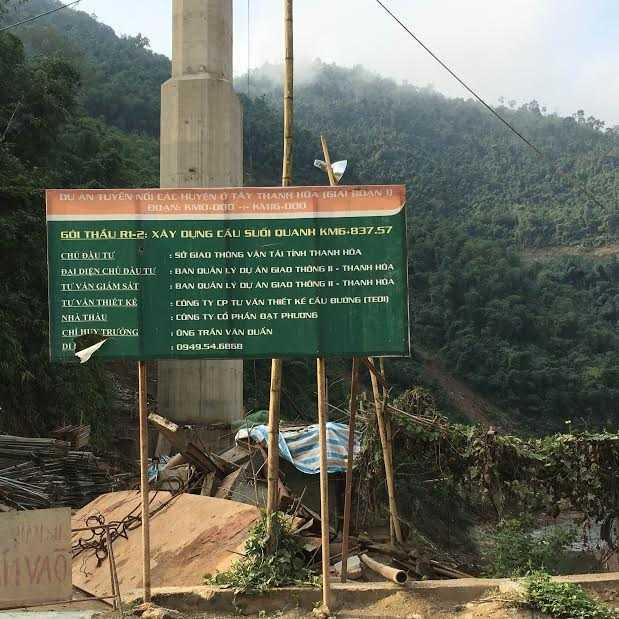 Hiện công trình cầu Suối Quanh đã bị tạm đình chỉ