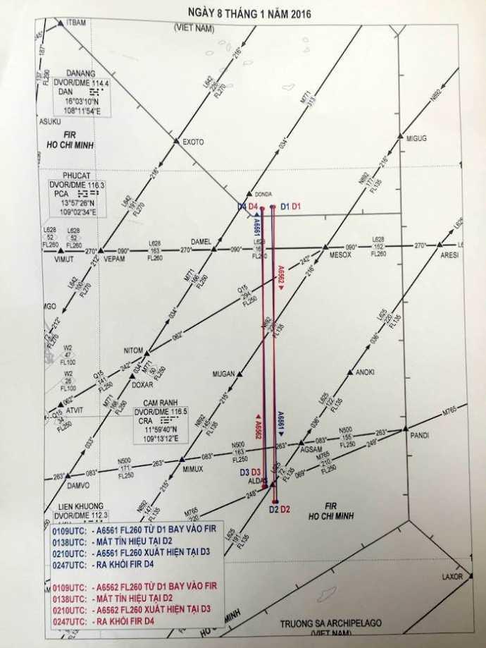 Sơ đồ hoạt động bay của các tàu bay Trung quốc sáng 8/1 trong FIR Hồ Chí Minh