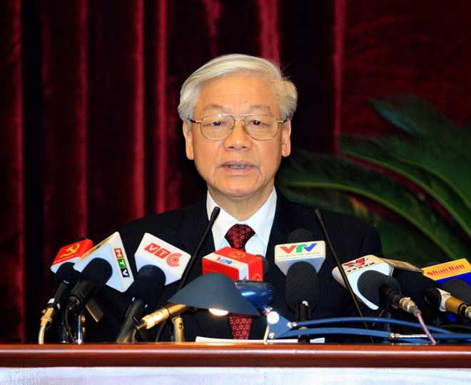 Tổng Bí thư Nguyễn Phú Trọng đã phát biểu bế mạc Hội nghị.