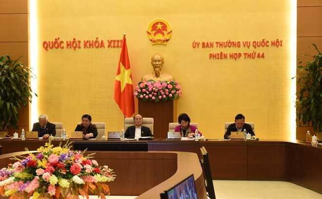 Phiên họp thứ 44 của Ủy ban thường vụ Quốc hội. (Ảnh: XH)
