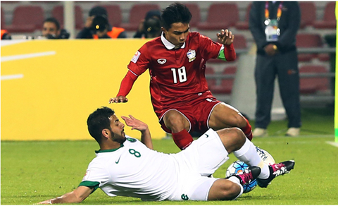 U23 Thái Lan (áo đỏ) đã có trận đấu khá tốt trước U23 Saudi Arabia
