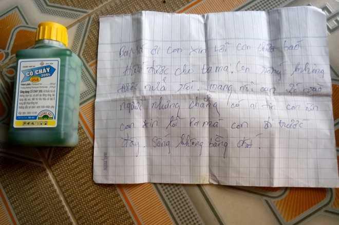 Nam sinh viết thư tuyệt mệnh trước khi uống thuốc diệt cỏ tự tử. Ảnh: M. Hoàng.