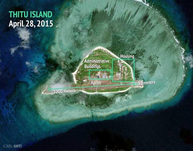 Ảnh vệ tinh chụp đảo Thị Tứ thuộc quần đảo Trường Sa của Việt Nam bị Trung Quốc chiếm đóng và xây dựng các công trình trái phép