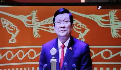 Chủ tịch nước Trương Tấn Sang đọc diễn văn khai mạc Đại hội Đảng XII