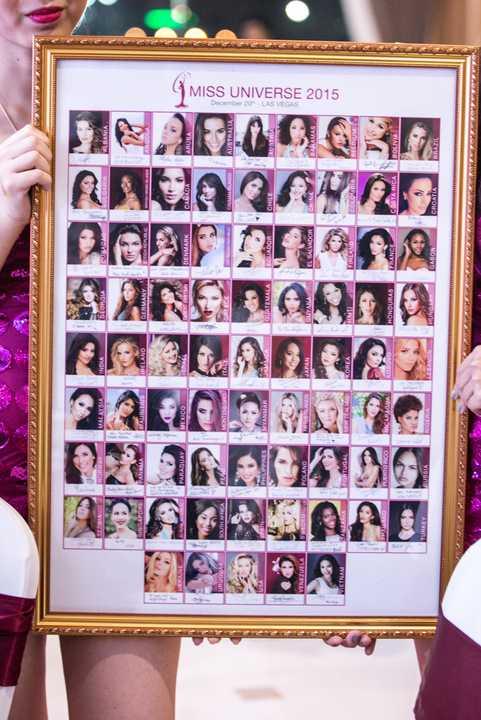 Được biết, trước ngày lên đường dự thi Hoa hậu Hoàn vũ 2015, Phạm Hương đã chuẩn bị một bức ảnh gồm chân dung 80 người đẹp sẽ dự thi cùng cô.