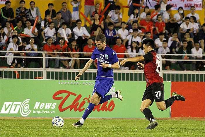B.Bình Dương cũng tung ra sân vài cầu thủ thử việc, như tiền đạo Vasilev Dmitrii